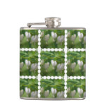 Delicate White Bleeding Heart Hip Flask