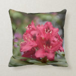 Flowering Red Rhododendron Bush in Bloom Throw Pillow