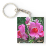 Pink Snapdragon Flowers Keychain