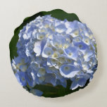 Pretty Light Blue Hydrangea Flowers Round Pillow