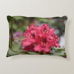 Red Rhododendron Bush in Bloom Accent Pillow