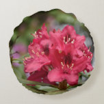 Red Rhododendron Bush in Bloom Round Pillow