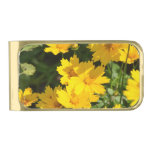Yellow Coreopsis Gold Finish Money Clip