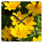 Yellow Coreopsis Square Wall Clock